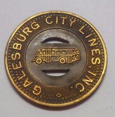 Galesburg Il 1939 Transit Token 350D City Lines School Fare