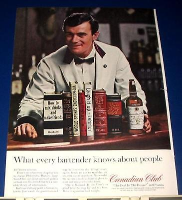 1964 Canadian Club Ad BARTENDER mix drinks/make friends