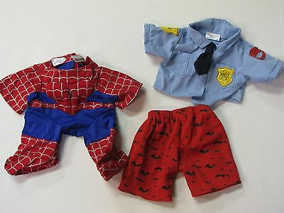Build a Bear Workshop Spiderman Policeman & Batman Shorts Clothes Outfits BABW