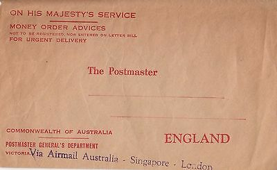 Stamp Australia Postmaster General cover Money Order airmail to England cachet