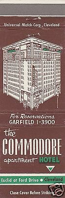 Vintage Hotel Matchbook Cover. The Commodore Apartment Hotel. Cleveland, Oh.