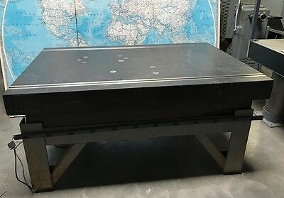 "Collins Micro Flat 48"" x 72"" x 12"" Granite Table Surface Plate with Metal Stand"