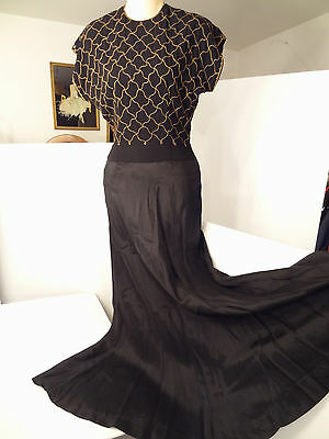 Vtg 30s/40s Ceil Chapman Embroidered Crepe Full-Length Evening Dress-XS