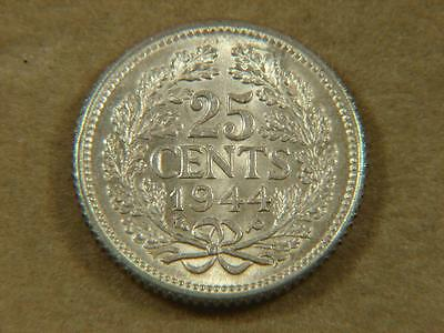 1944 Netherlands 25 Cents Silver Coin