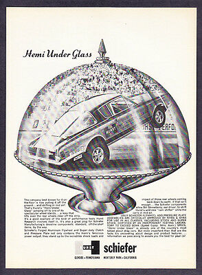 1965 'Hemi Under Glass' Plymouth Barracuda photo Hurst Schiefer promo print ad