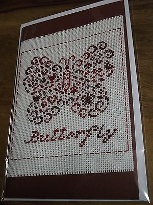 "Completed Cross Stitch Greeting Card "" French Country - Butterfly """