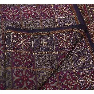 Vintage Indian Saree 100% Pure Silk Hand Beaded Woven Fabric Cultural Sari