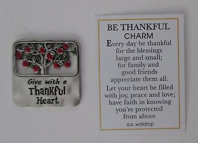 J Give with a thankful heart BE THANKFUL pocket charm token Apple gratitude Ganz