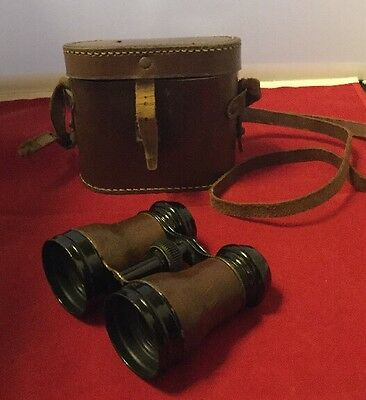 Vintage Field Glasses And Leather Case - Lumiere Paris
