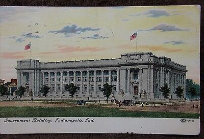 1908 Postcard Government Building Indianapolis Indiana Sent To Kendallville In