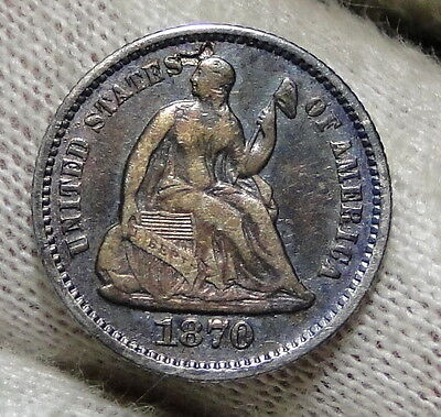 1870 Seated Liberty Half Dime H10C - Key Date, 535,000 Minted (3672)