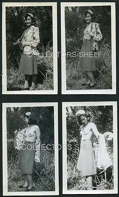VINTAGE 1940s STRIPTEASE 8 PHOTO SET ASIAN WOMAN OUTDOOR RISQUE NUDE PIN UP WWII