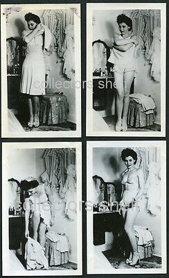 VINTAGE 1940s STRIPTEASE 8 PHOTO SET PRETTY ASIAN WOMAN RISQUE NUDE PIN UP WWII