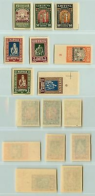 Lithuania, 1933, SC 277c-277k, MNH, imperf, some mint. d7421