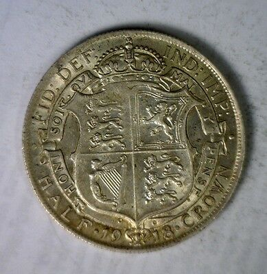 GREAT BRITAIN 1/2 CROWN 1918 ABOUT UNCIRCULATED SILVER COIN ( stock# 0200)