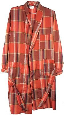 Vintage 1960s 1970s Montgomery Ward Men's Long Sleeved Belted Red Plaid Bathrobe