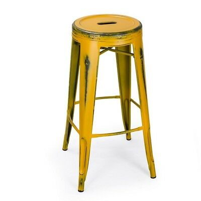 Adeco Antique-Style Yellow 30-Inch Metal Bar Stools, Set of 2 - CH0156-2