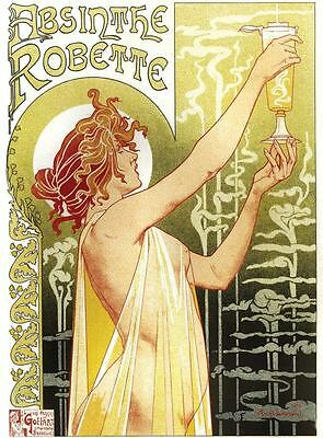"ABSYNTH ART NOUVEAU A2 CANVAS PRINT poster 16""X 24"""
