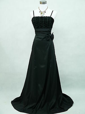 Cherlone Black Plus Size Rose Long Satin Ball Gown Party Evening Dress UK 20-22