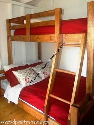 BUNK BED Paper Plans EASY DIY PATTERNS Build King Over Queen Over Full Over Twin