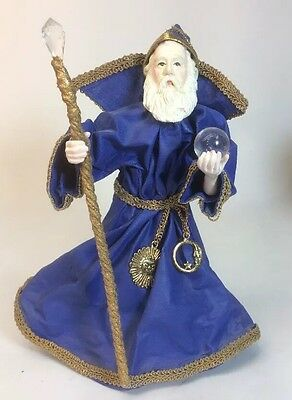 """Merlin The Wizard Figurine With Staff And Crystal Ball Stands About 7"""" Tall"""