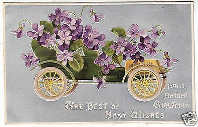 An Early Motor Car / Automobile - Embossed Flowers - c1900s motoring postcard