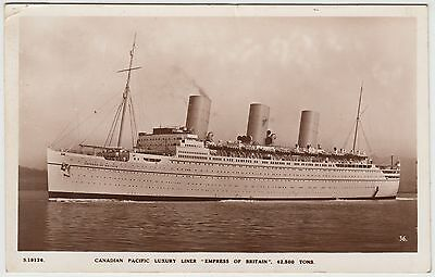 EMPRESS OF BRITAIN - Canadian Pacific - 1936 used Real Photo Shipping postcard