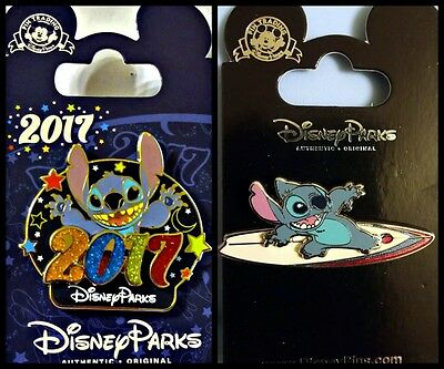 Disney Parks 2 Pin Lot STITCH 2017 + surfer Stitch surfing - New