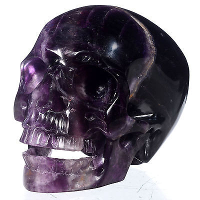 "4.96"" Natural Purple fluorite Carved Singing Skull,Collectibles#22D12"