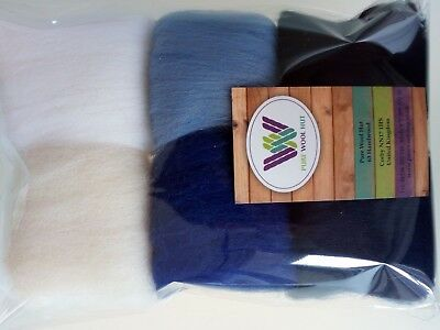 30 g Pure Wool Tops for Felting Set 6 colours, Winter