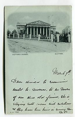 Clifton, Bristol - Victoria Rooms - 1901 used postcard, Victorian stamp