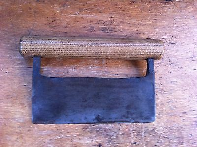 DECORATIVE EDWARDIAN WOOD & WROUGHT IRON HERB CHOPPER 7.25 inches