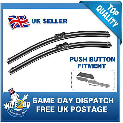 Ford Mondeo 2007+ Aero Flat Wiper Blades 26-19 For Push Button Fitment