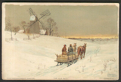 The Old Mill chromolithograph trade card Quaker Oats 1893