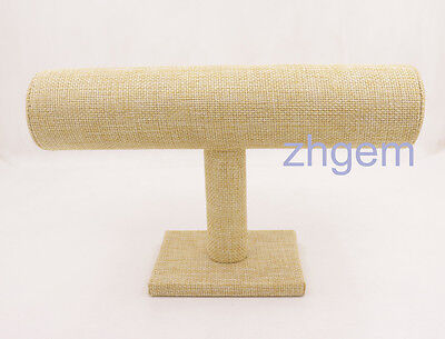 "1 pcs 9"" Champagne flax cloth column Pillow for Watch Bracelet Jewelry Display"