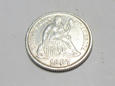 USA United States 10 Cents (Dime) 1887.