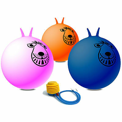 3x 66cm (26 inch) Adult sized (Large) Retro Space Hopper Pack & Pump Pink Blue