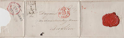 1815 Add!½d CANCEL ON WRAPPER MAILED TO MARINE BOARDING HOUSE AT BRIGHTON ~ SEAL