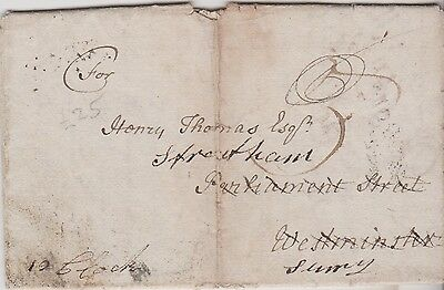 1791 Dockwra Cancel On Letter With Time Script 12 O'clock To Henry Thomas