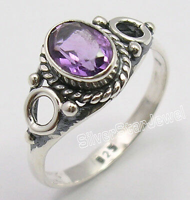 925 Sterling Silver CUT AMETHYST Gem VINTAGE STYLE Ring All Sizes MADE IN INDIA