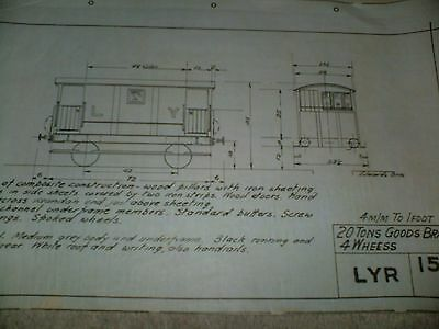 Lancashire & Yorkshire Railway Goods & Brake Wagon Qty Two Drawings Edwards Bros