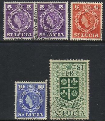 St Lucia 1953-1963 Defins 4 Used Values Cat £7+