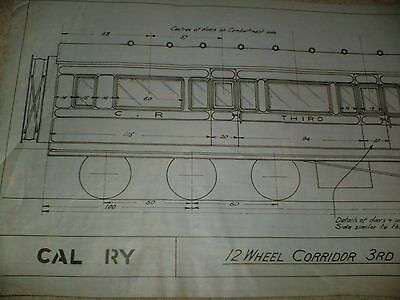 Caledonian Railway 3rd Brake Corridor Carriage Qty One Drawing Edwards Bros