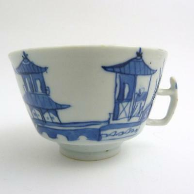 Chinese Canton Blue And White Porcelain Tea Cup, 19Th Century