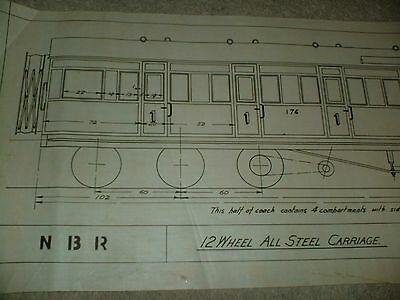 North British Railway 12 Wheel All Steel Carriage Qty One Drawing Edwards Bros