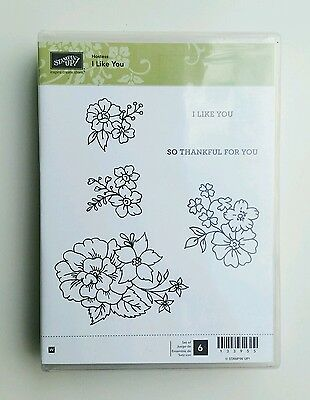 Stampin Up I Like You Wooden Block Stamp set Stamps