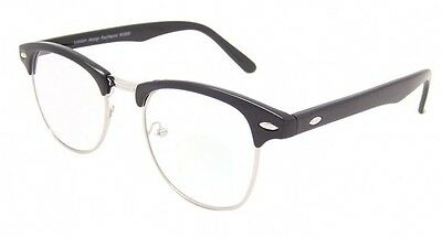 Black & Silver Clear Lens Glasses Clubmaster Style Vintage Retro Optical Frames