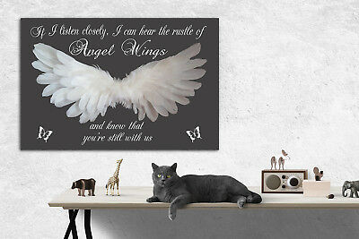 ~ Angel Wings Wall Hanging, If I Listen Closely, I can Hear..Grey Canvas Print