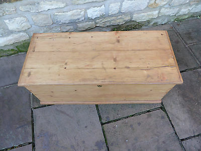 Victorian Pine Blanket Box with Candle Tray + Small Drawer Under.