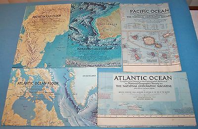 Vintage National Geographic Ocean Maps - Pacific - Atlantic - Artic - Indian